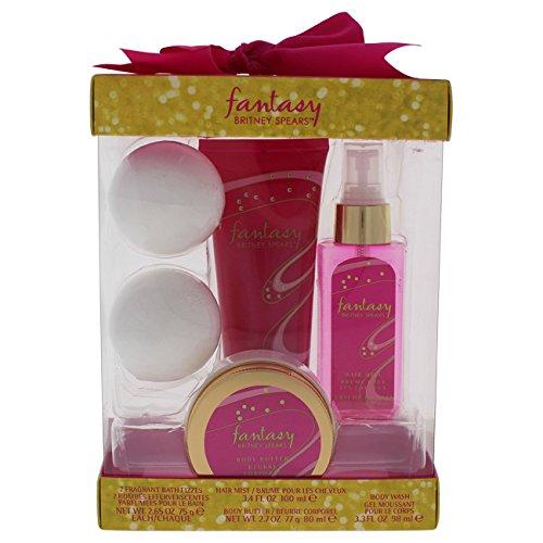 Britney Spears Fantasy By Britney Spears for Women - 4 Pc Kit 3.4oz Hair Mist, 3.3oz Body Wash, 2.7oz Body Butter, 2 X 2.65oz Fragrant Bath Fizzes, 4 (Fantasy Body Shower Gel)
