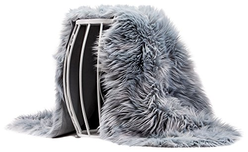 Gray Fur (Chanasya Super Soft Faux Fur Fake Sheepskin Gray Sofa Couch Stool Casper Vanity Chair Cover Rug / Solid Shaggy Area Rugs For Living Bedroom Floor -Slate Blue Gray 2ft x 6ft)