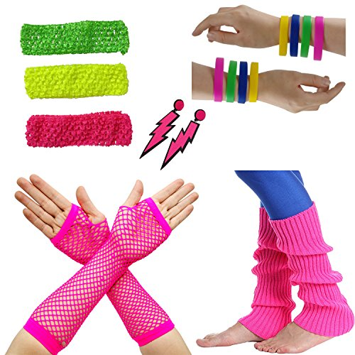 80s Facny Outfit Costume Accessories Neon Earrings,Silicone Bracelets,Neon Stretch Headband, Leg Warmers and Fishnet Gloves for Women - Eighties Fashion Costume