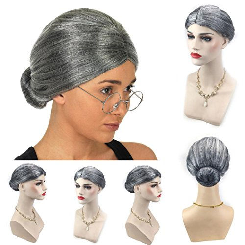 Chartsea Old Lady Grandma Granny Grey Wig Bun Hair Grand Mother Fancy Dress Costume (A)