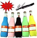 Colorful 335 mL Bottle Cooler Beer Coolie - Multi Color - Black, Blue, Green, Pink, Yellow (5, Multi-Color)