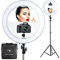 18 LED Video Ring Light with Mirror, 6ft Stand Tripod, Adjustable Heavy Duty Mount for DSLR, iPhone & Android Smartphones - Professional Studio Photography Dimmable Lighting Kit for Makeup & Youtube