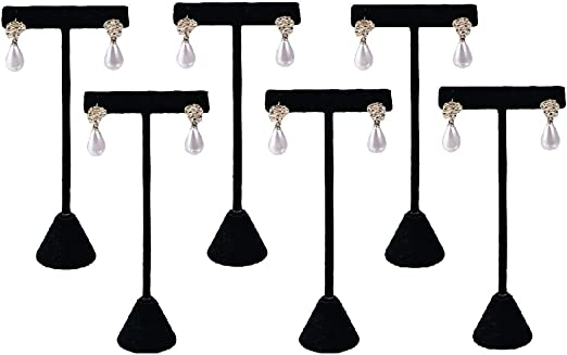 """6 Black Velvet Earring T Stand Showcase Displays 4.75/"""""""