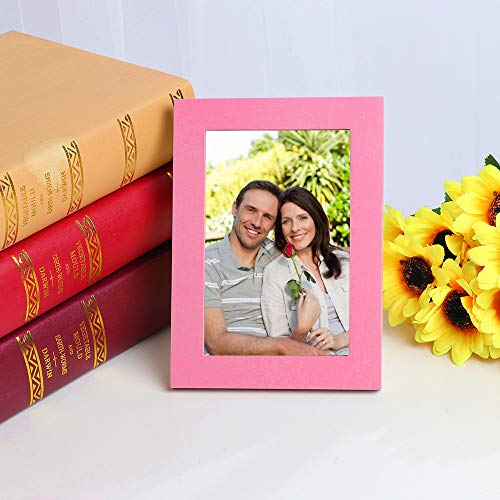 Quaanti New Arrival Wooden Picture Frame Wall Mounted Hanging Photo Frame Home Decor DIY Craft Decoration Wall Decals Frame (Hot Pink)