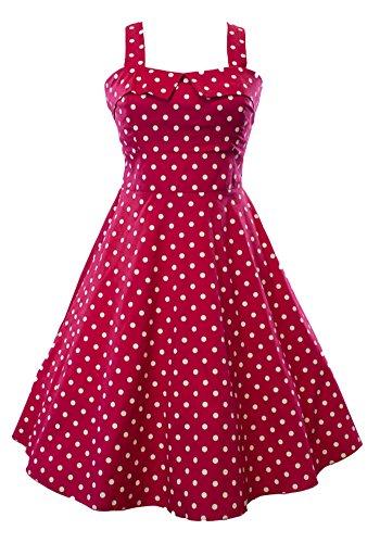 Sidecca Retro 1950s Polka Dot Empire Swing Dress-Raspberry-X-Large