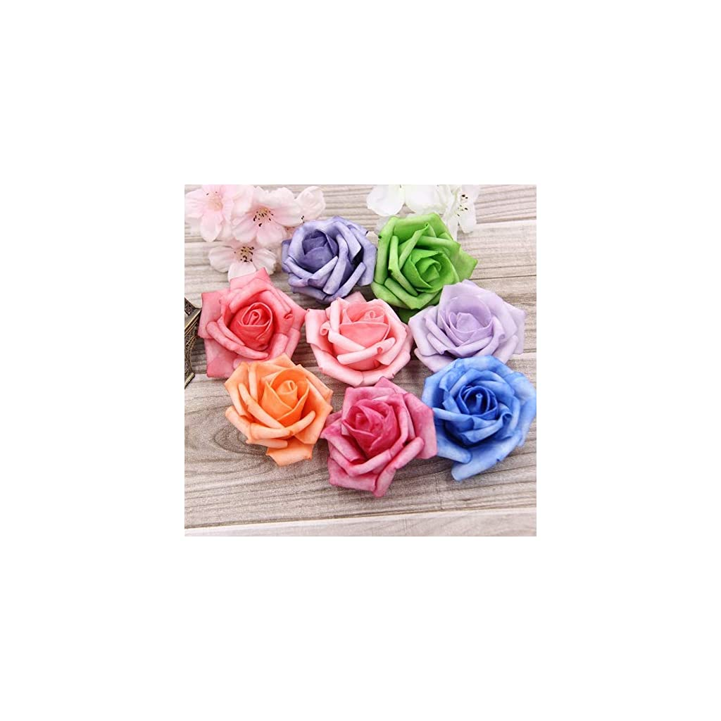 HATABO-Flower-Decoration-Wedding-Artificial-Heads-Flower-50PcsLot-Artificial-Foam-Roses-for-and-Flower-Heads-Kissing-Balls-for-Weddings-Multi-Color-7Cm-Diameter-Random