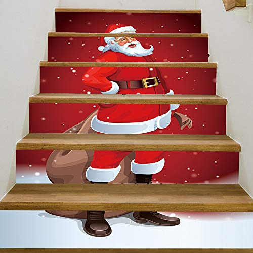 Christmas Decoration Hot Sale!!Kacowpper Holiday 3D Christmas Santa Claus Pattern Stair Decals Stickers Xmas Home Decor -