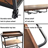 charaHOME Solid Wood Kitchen Serving Carts Rolling