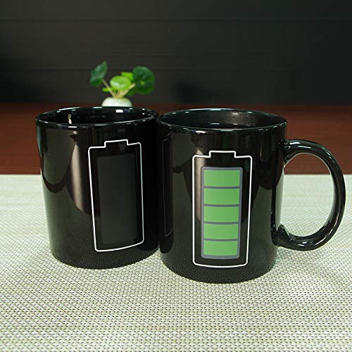 Heat Sensitive Color Changing Mug Creative Battery Magic Mug Positive Energy Color Changing Cup Ceramic Discoloration Coffee Tea Milk ()