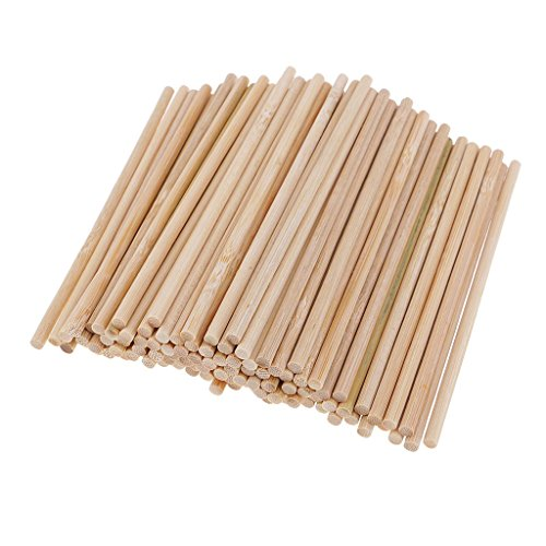 Homyl 100 Pieces 120mm Round Natural Bamboo Wooden Lollipop Lolly Sticks Dowel Rod For Model Making Woodcraft Woodworking DIY Craft - Natural Woodcraft Sticks