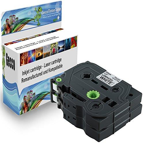 Spetan 2x Schriftband Kassette Kompatibel für Brother P-Touch TZ 231 TZE231 TZ231 Schwarz auf Weiß 12mm x 8m Schreibband Beschriftungsband Farbband 2x TZ-231-Black