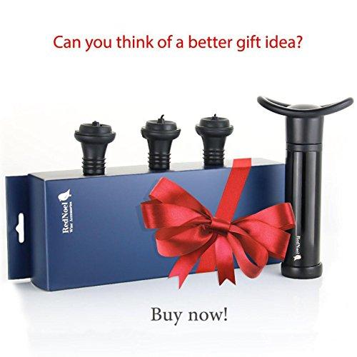 Wine Vacuum Bottle Preserver Saver - for Wine Preservation - Best Wine Sealer Kit - with 3 Vacuum Re-usable Wine Stoppers - Black by RedNoel (Image #6)