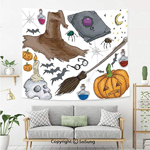 Halloween Decorations Wall Tapestry,Magic Spells Witch Craft Objects Doodle Style Grunge Design Candle Skull,Bedroom Living Room Dorm Wall Hanging,60X40 Inches,Multi