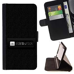- Slide To Unlock Phone Funny Black - Estilo PU billetera de cuero del soporte del tir???¡¯????n [solapa de cierre] Cubierta- For Samsung Galaxy Note 3 III £¨ Devil Case £©