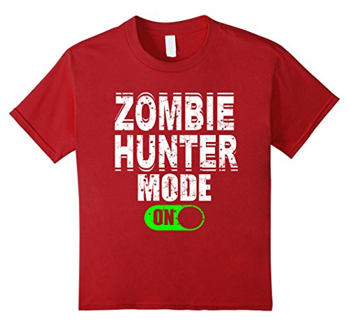 Kids Zombie Hunter Mode On T Shirt Scary Halloween Costume 6 Cranberry - Make A Zombie Hunter Costume