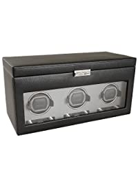 Wolf Designs 456302 Module 2.7 Triple Watch Winder with Cover, Storage and Travel Case