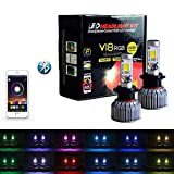 Underground Lighting 2 in 1 RGB LED Headlight Bulb Kit - Smartphone App-Controled Bluetooth RGB Demon Eye + LED Headlight Color Changing Strobe & Music feature (9005/9011/ HB3)
