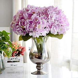 LTTA Artificial & Dried Flowers - Artificial Flower Hydrangea 5 Heads Silk Hydrangea Bouquet for Wedding Party New Year Decoration Fake Flowers Home Decor 1 PCs 44
