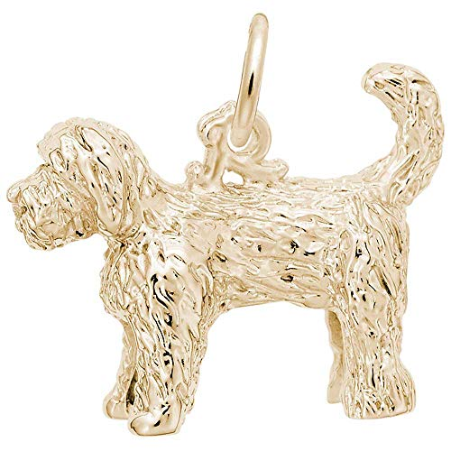 Rembrandt Labradoodle Dog Charm, Gold Plated Silver