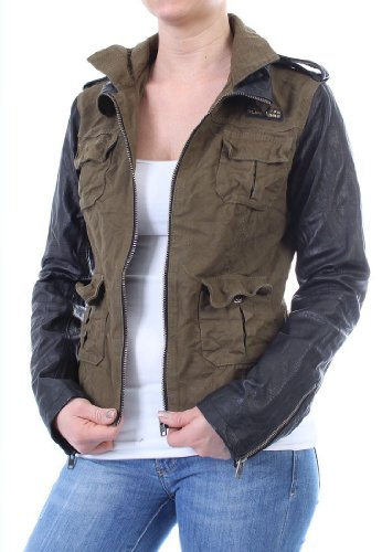 Superdry mEGAN veste pour femme-coupe sKINNY mIX veste pour homme kaki