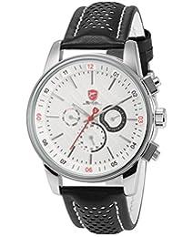SHARK Men's Sport Date Day Display 6 Hands Black Leather White Dial Analog Quartz Wrist Watch + Gift Box SH093