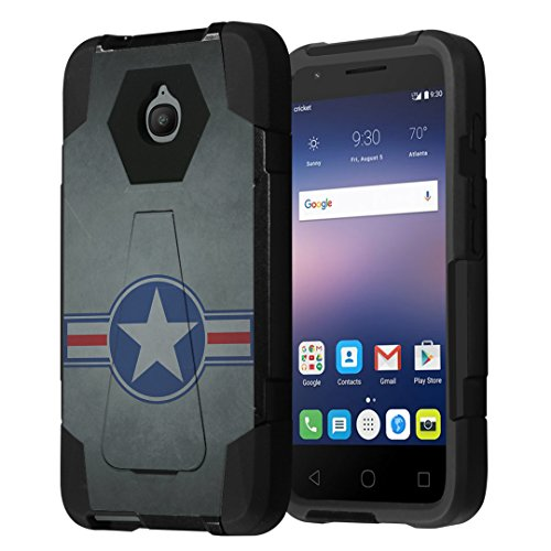 Alcatel Streak Case, Alcatel Dawn Case, Alcatel Ideal Case, Alcatel Pixi Avion / Pixi Bond Case, Capsule-Case Hybrid Dual Layer Shockproof Combat Kickstand Case Black - (Military National Aircraft) ()