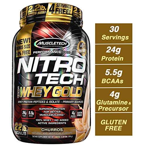 - MuscleTech Nitrotech Whey Gold/Isolate/Peptides, Churro, 2.2 Pound