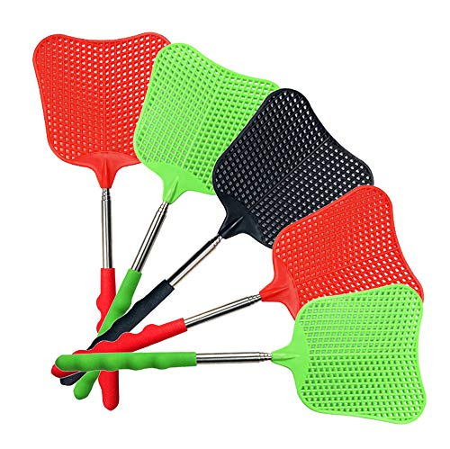 foxany Fly Swatters, Durable Extendable Plastic Fly Swatter Heavy Duty Set, Telescopic Flyswatter with Stainless Steel Handle for Indoor/Outdoor/Classroom/Office (5 Pack)