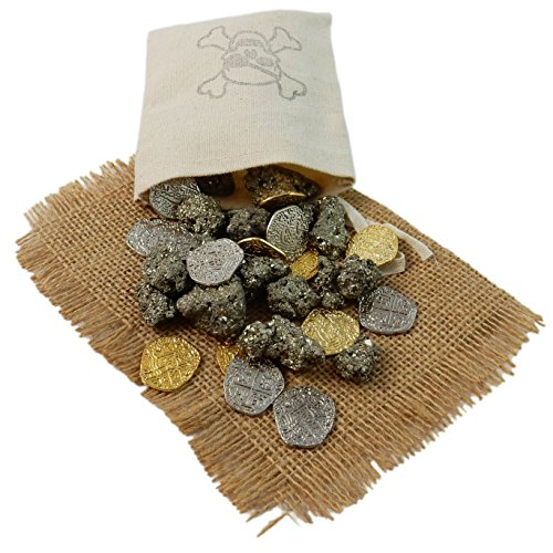 ONE (1) Pirate Booty Pouch filled with 1/2 Pound Pyrite and 15 Metal Pirate Treasure Coins - Shiny Gold and Silver Doubloon Replicas