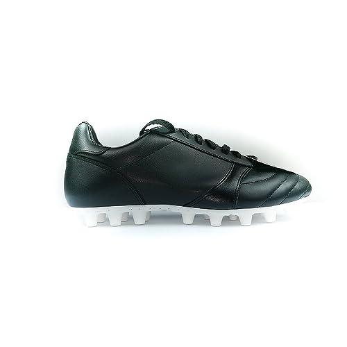 Danese – Classic/Artificial Grass Scarpe Calcio Artigianali Nero/Bianco Made in Italy – Cow Leather Mis 42.5