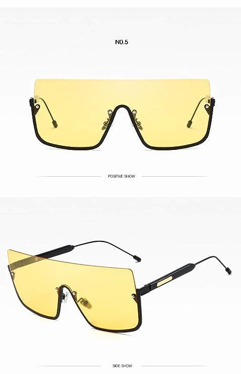 Amazon.com : YLNJYJ Señoras De La Moda Gafas De Sol Cuadradas Integradas Mujeres/Hombres Gafas De Medio Marco Gafas Transparentes Gafas De Sol para Mujeres ...