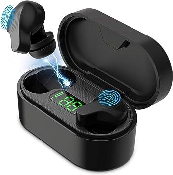 Auriculares Bluetooth inalámbricos de HOSPAOP, auriculares inalámbricos Bluetooth 5.0, reducción de ruido estéreo, con caja de carga y micrófono integrado para iPhone, Samsung, Huawei: Amazon.es: Electrónica