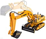 WolVol (11 Channel + Demo Function) Big Electric RC Remote Control Excavator Construction Truck Toy for Kids with Lights and Sounds