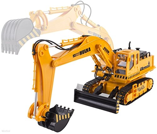 WolVol Big Electric RC Remote Control Excavator Construction Truck Toy for Kids with Lights and Sounds (11 Channel Full Functional, with Demo Option) (Remote Control Excavator compare prices)