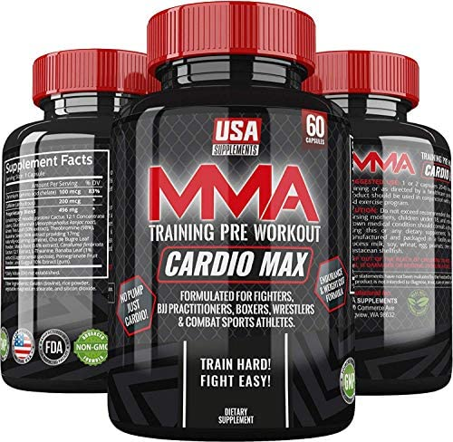 Cardio Max Pre Workout Capsules – Energy Pills – Nootropic Brain Booster – Workout Supplements for Men Women – Caffeine Pills 200mg – Perfect for MMA, Wrestling, BJJ Endurance Based Athletes