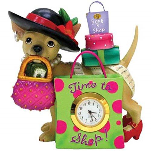 WL SS-WL-13389, 4 Inch Time to Shop Chihuahua Shopaholic Mini Clock Figurine, 4
