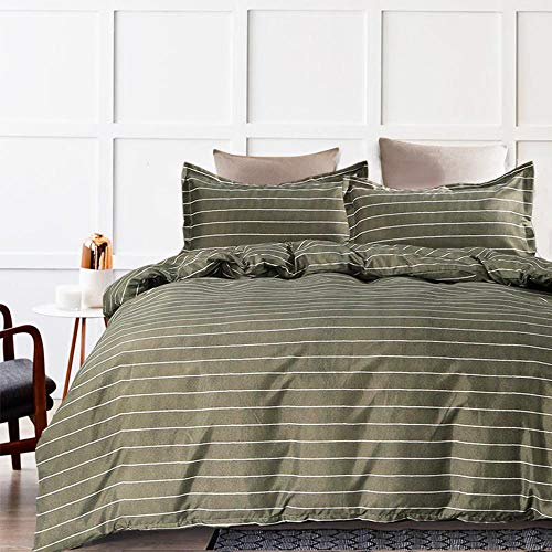 NANKO Striped Duvet Cover Queen, 3 Pcs - 90x90 Soft Breathable Lightweight Microfiber (1 Cover 2 Pillow sham) with Zip, Modern Bed Comforter Quilt Cover for Young Men Women Bedding Decor, Olive Grey