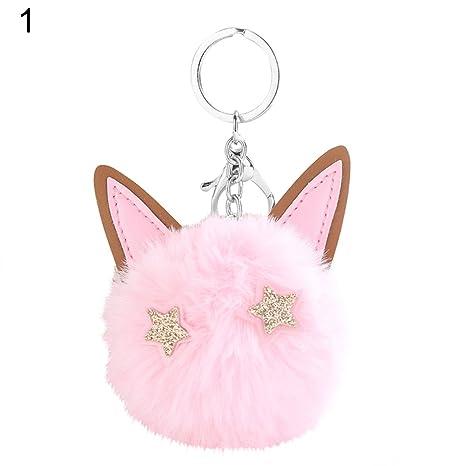 qsbai - Llavero con pompón, diseño de ojos de gato: Amazon ...