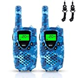 Walkie Talkies for Kids, FAYOGOO 22-Channel FRS/GMRS Radio, 4-Mile Range Two Way Radios for Kids with Flashlight and LCD Scree (Camo Blue Walkie Talkies)