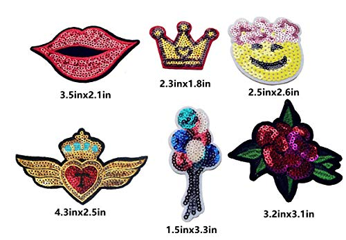 Qingxi Charm 32pcs Assorted Styles Sequins Sewing on/Iron on Embroidered Patches Clothes Dress Hat Pants Shoes Curtain Sewing Decorating DIY Craft Embarrassment Applique Patches (Sequins 32pcs)