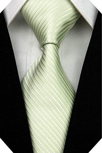 Wehug Men's Classic Solid Tie Silk Woven Necktie Jacquard Neck Light Green Ties For Men - Light Classic Green