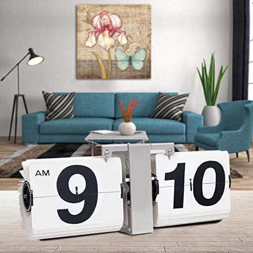 KABB Flip Clock, Jumbo Large Size Modern Minimalist Retro Style Flip Down Wall Hanging & Desk Clock for Office,Home Decor (14 Inches)-White
