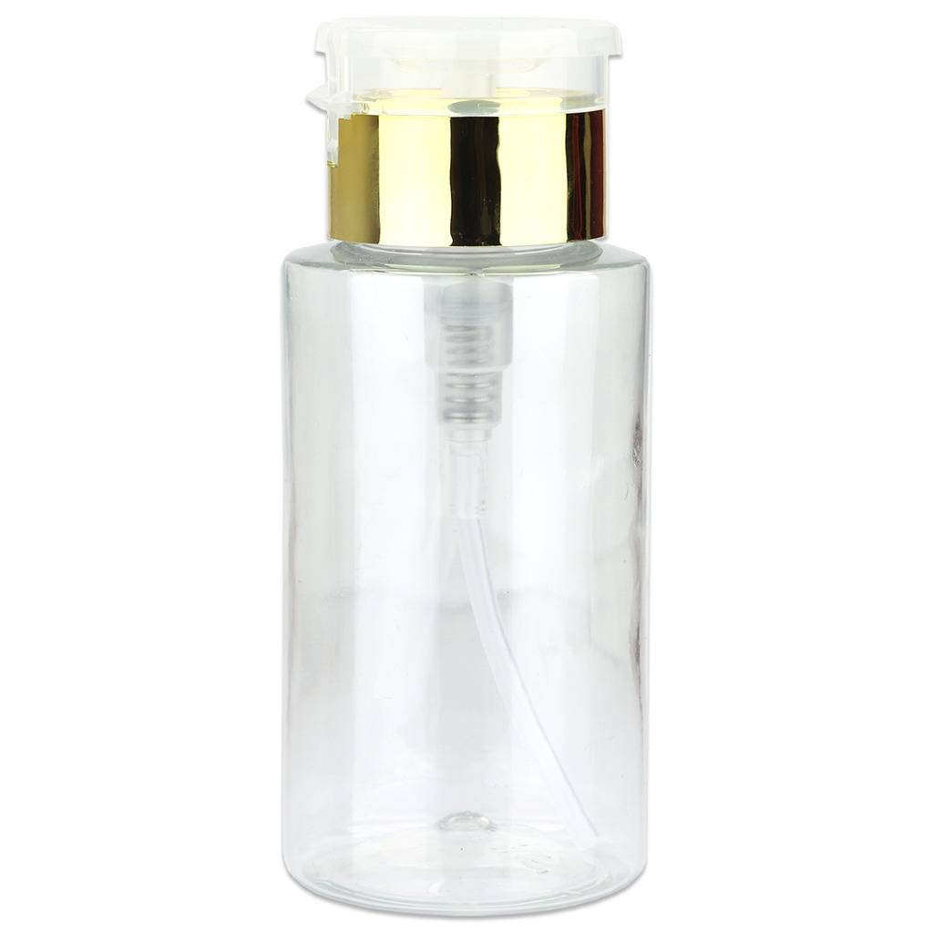 PANA 7 Oz Professional No-Labeled Push Down Liquid Pumping Bottle Dispenser (Stainless Gold Lid - Unlabeled)