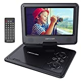 DBPOWER 9.5-Inch Portable DVD Player with Swivel Screen, 5 Hours Rechargeable Battery, SD Card Slot and USB Port, With Remote, Car Charger, Game Controller, AV Cable-Black