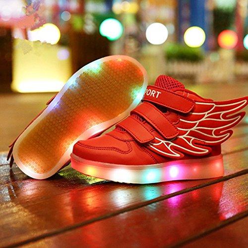 Sneakers Bambino USB Luce Bright nella Lampeggiante Shoes con Tennis DoGeek Unisex 7 Rosso Suola Trainners LED Scarpe Luminosi Colori Luci Scarpe con fqw8v5