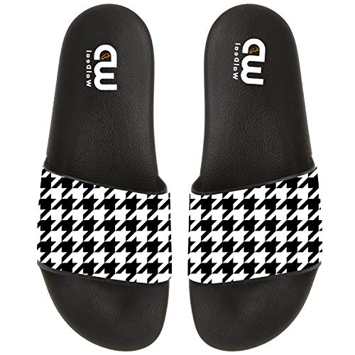 Cartoon Houndstooth Print Summer Slide Slippers For Men Indoor Casual Sandal Shoes size 15