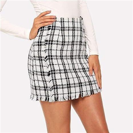 ZYSDHZ Falda A Cuadros Minifalda De Tweed para Mujer Minifalda De ...