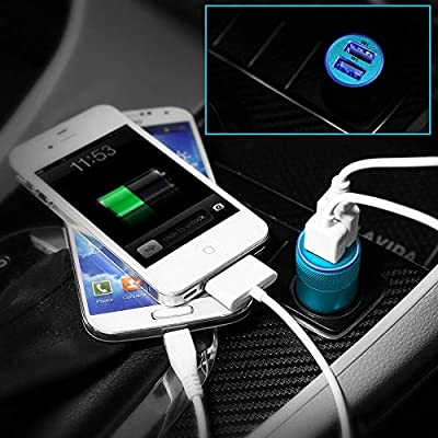 Car Charger,Sicodo 3.4A 2 Pack USB Smart Port Charger Compatible with iPhone X 8 7 6S 6 Plus, 5 SE 5S 5 5C,Galaxy S9 S8 S7 S6 Edge, Note 8 4, LG G6 G5 V10 V20,Nexus 5 X 6P,Pixel,iPad Pro Portable