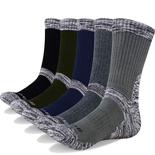 YUEDGE Men's 5Pairs Wicking Cushion Anti Blister Multi Performance Cotton Crew Cotton Casual Socks(XL)