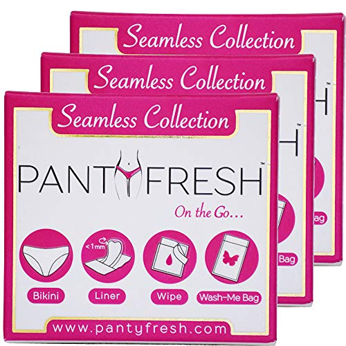 Panty Fresh On-The-Go 4in1 Women's Emergency Pocket Size Travel Kit | Includes Seamless Underwear, Pantyliner, Fresh Wipe & Wash Bag (Bikini/XLarge/3Pack)